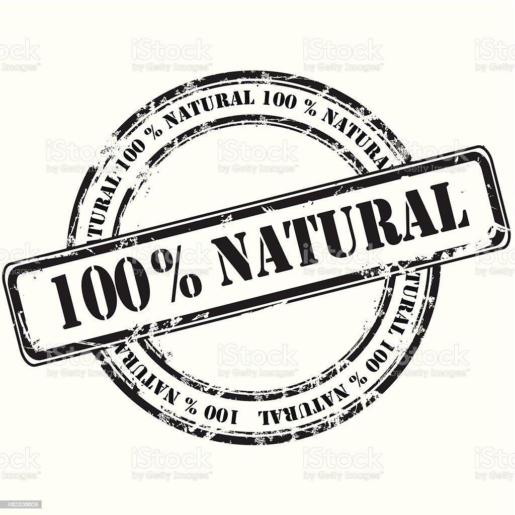 %100 natural grunge rubber stamp background vector art illustration