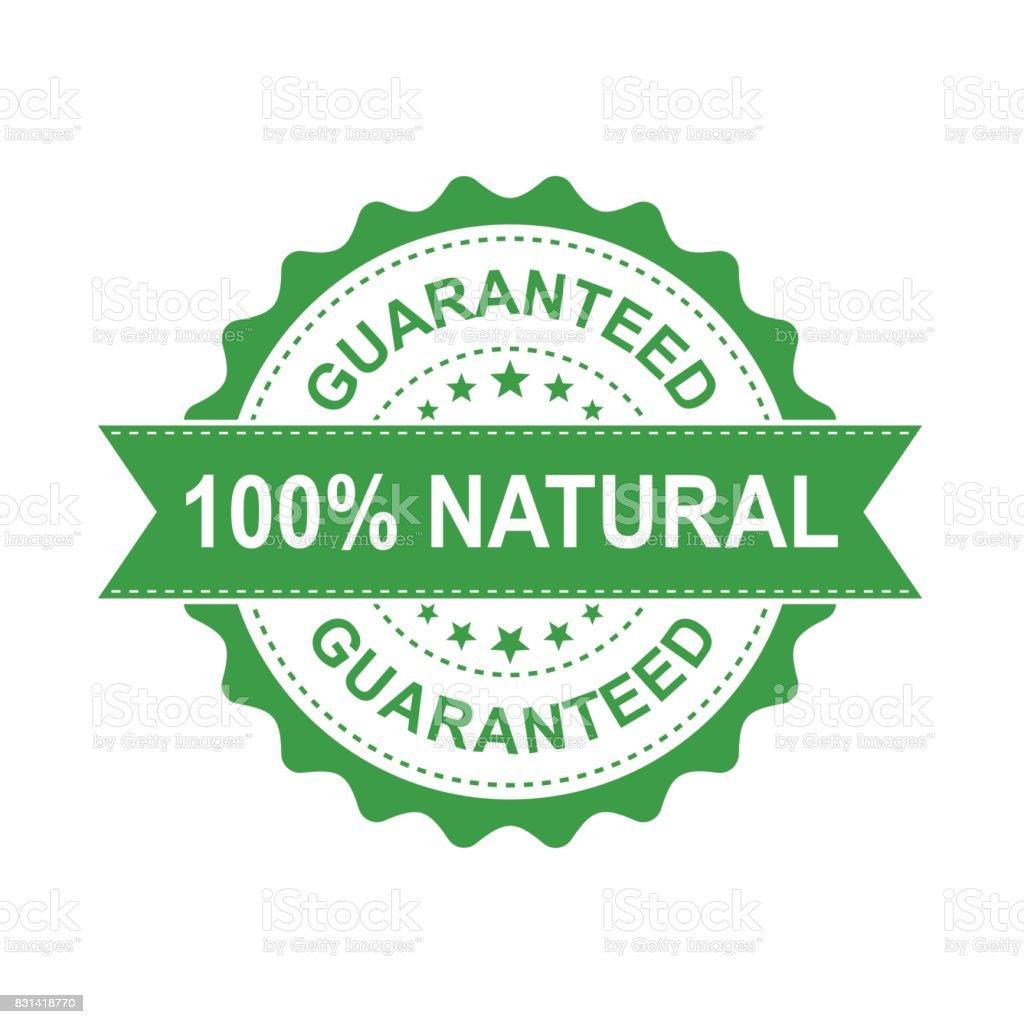 100% natural grunge rubber stamp. Vector illustration on white background. Business concept guaranteed natural stamp pictogram. vector art illustration