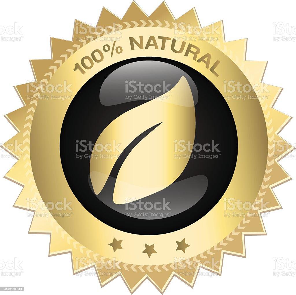 100% natural guaranteed seal vector art illustration