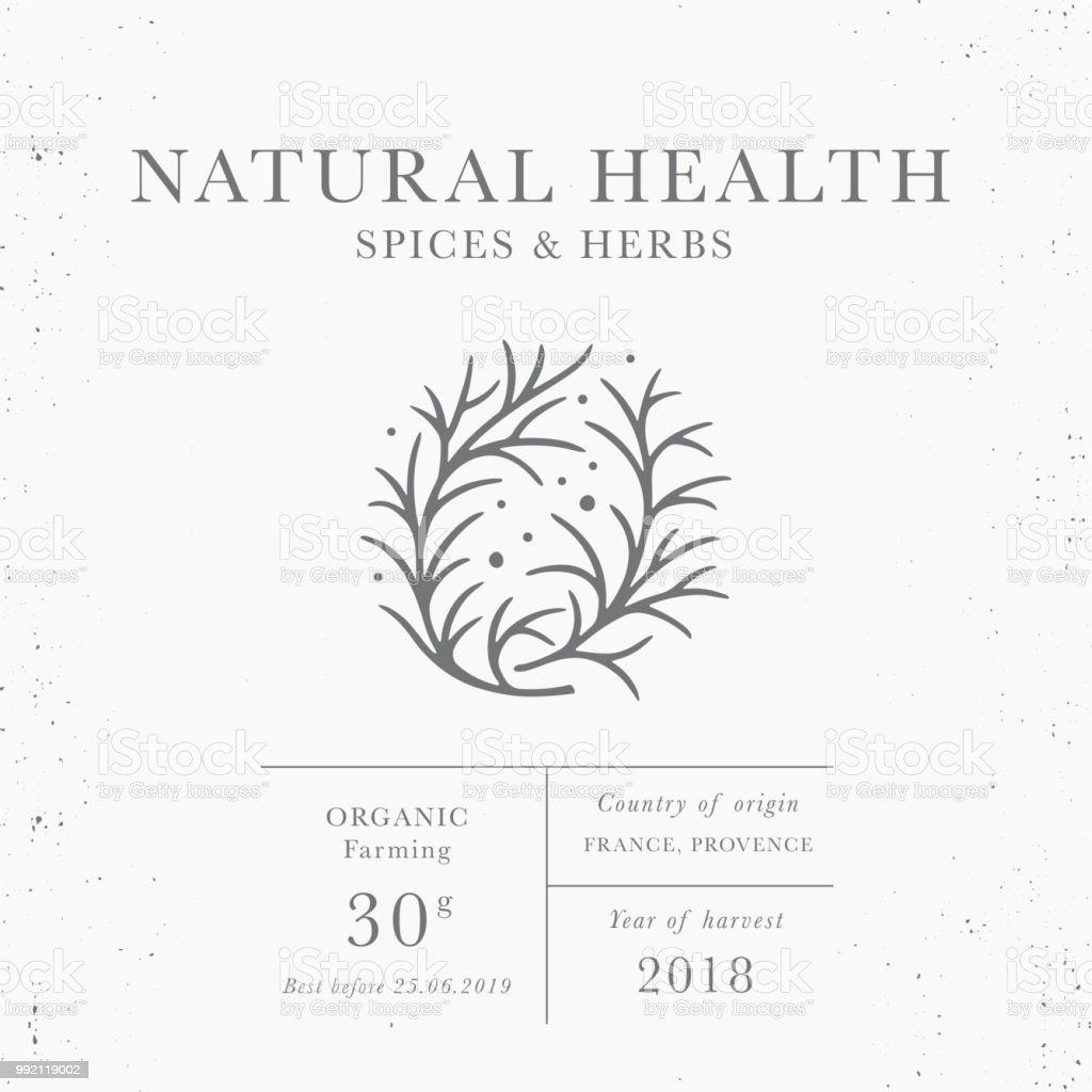 Natural Health Emblem Of Packaging Design Template Stock