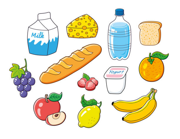 Natural healthy breakfast vegetarian food set isolated Milk carton, cheese piece, water bottle, toast, grape bunch, baguette bread, yogurt, strawberries, orange, apple fruit slice, lemon, bananas. Natural healthy breakfast vegetarian food set isolated. bread clipart stock illustrations