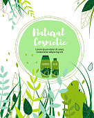Natural Herbal Cosmetic Flat Catoon Banner Vector Illustration. Shampoo and Balm Bottles. Hair Care Products. Pharmacy Herbs with Leaves. Organic Products Business, Advertising and Promotion.