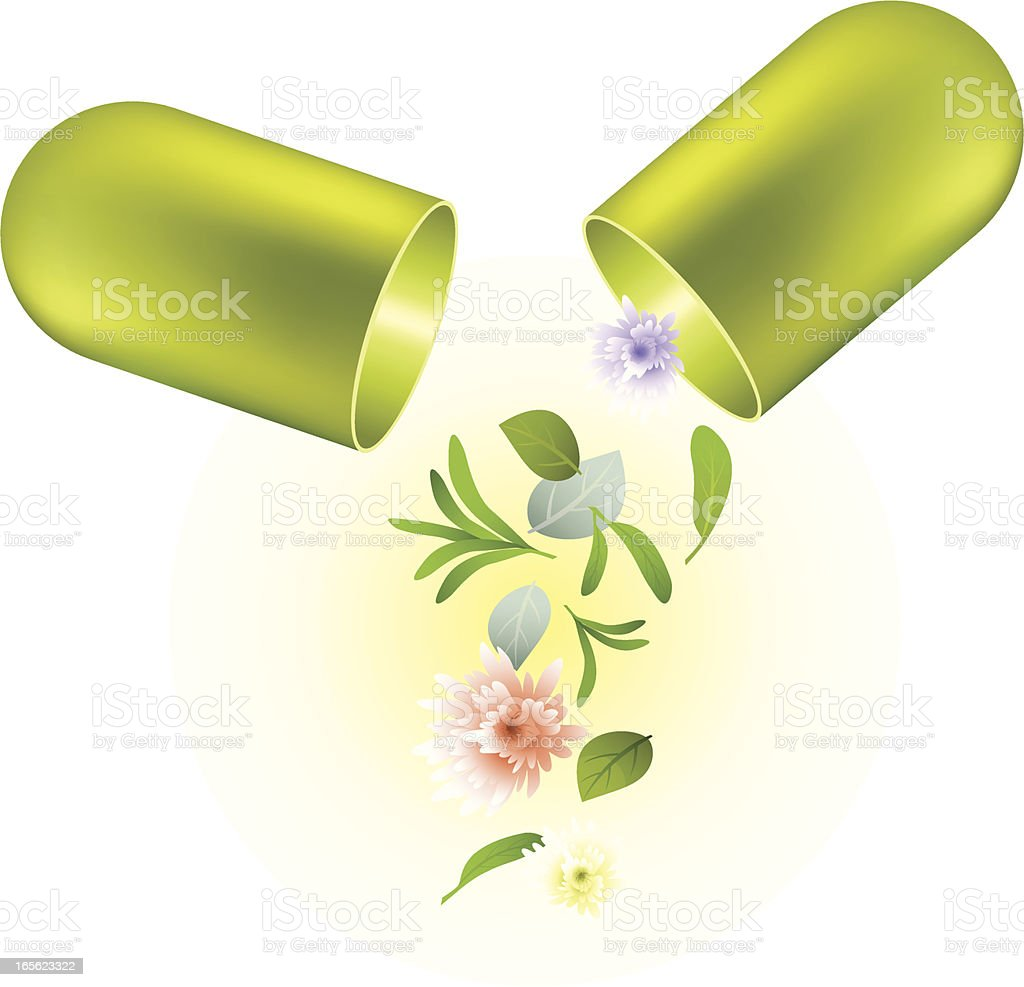 Natural Herbs Capsule vector art illustration