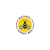 Natural honey bee label. Vector icon template