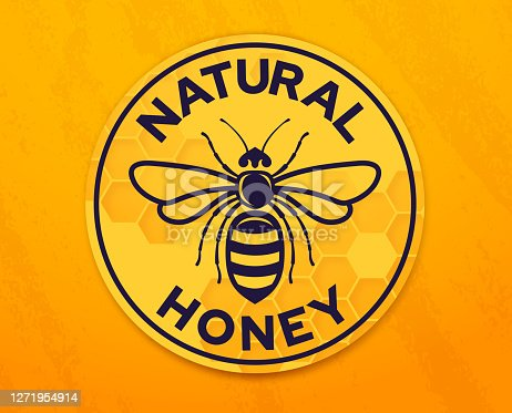 istock Natural Honey Honeybee Badge 1271954914
