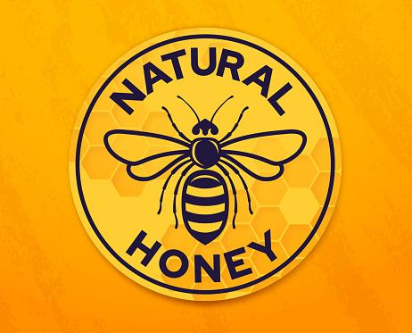 Natural Honey Honeybee Badge