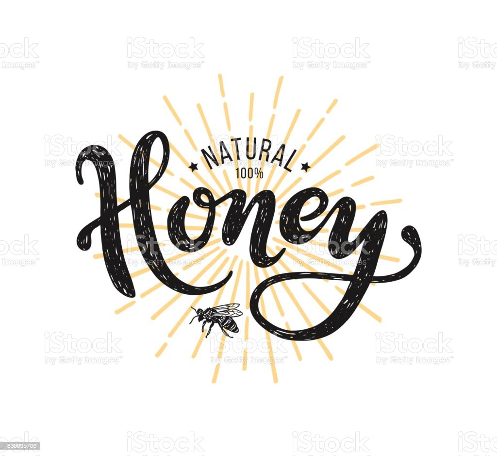 Natural honey Lettering. Vector illustration on white background vector art illustration