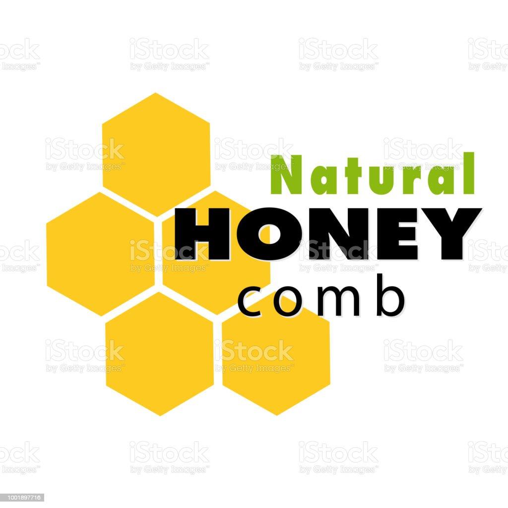 Doğal Petek Logosu Beyaz Arka Plan Vektör Görüntü Stok Vektör Sanatı
