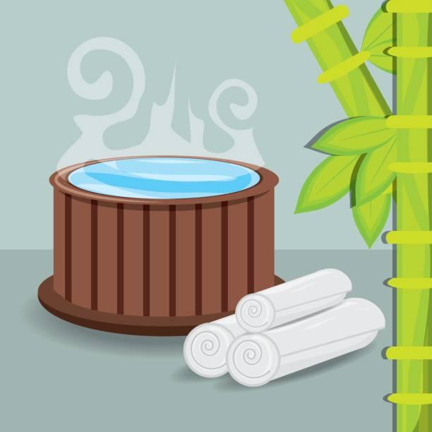 natürlichen heißwasser mit handtuch und bambus - blackpool stock-grafiken, -clipart, -cartoons und -symbole