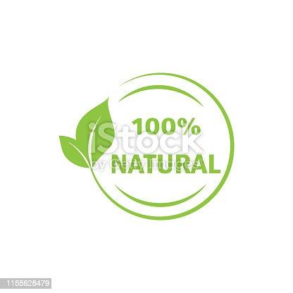 istock 100% Natural label. stamp, lettering, illustration. - Vector 1155628479