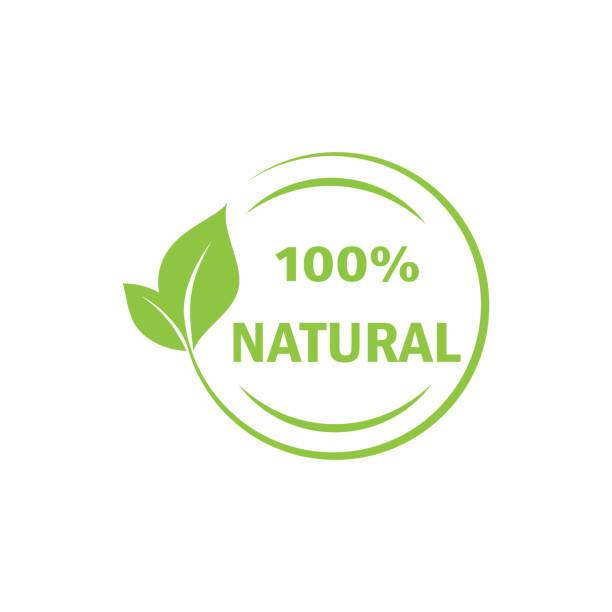 ilustrações, clipart, desenhos animados e ícones de 100% etiqueta natural. carimbo, lettering, ilustração. -vetor - condição natural