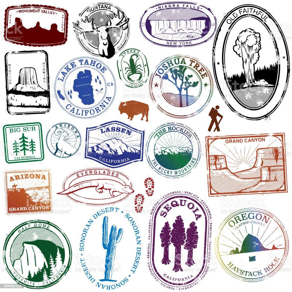 USA Natural Landmark Stamps vector art illustration