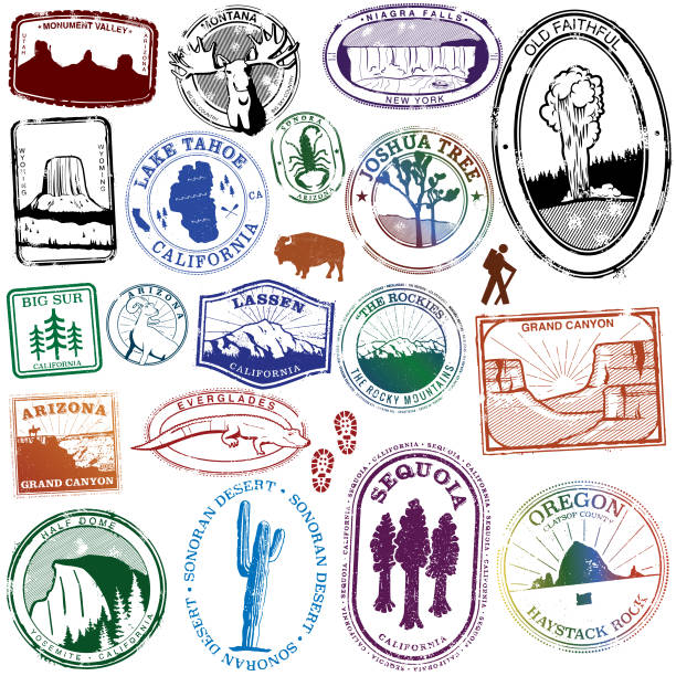 usa natural landmark stamps - rock formations stock illustrations