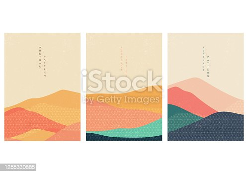 istock Natural landscape background with Japanese pattern vector. Abstract template with geometric elements. Mountain wallpaper. 1255330885