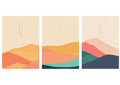 Natural landscape background with Japanese pattern vector. Abstract template with geometric elements. Mountain wallpaper.
