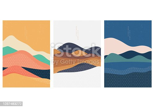 Natural Landscape background with Japanese pattern vector. Geometric template in traditional of Japan. Mountain in Asian poster design. Abstract arts.
