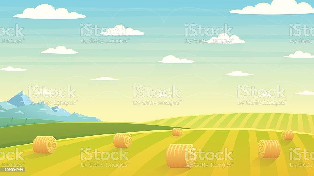 Natural landscape hay field vector art illustration