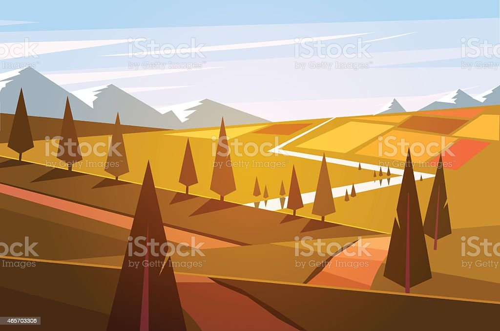 The fields, the road and the trees. Vector illustration.