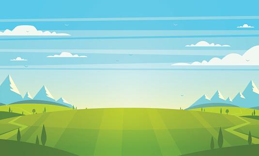 Paesaggio Naturale Illustrazione Vettoriale - Immagini vettoriali stock e altre immagini di Albero