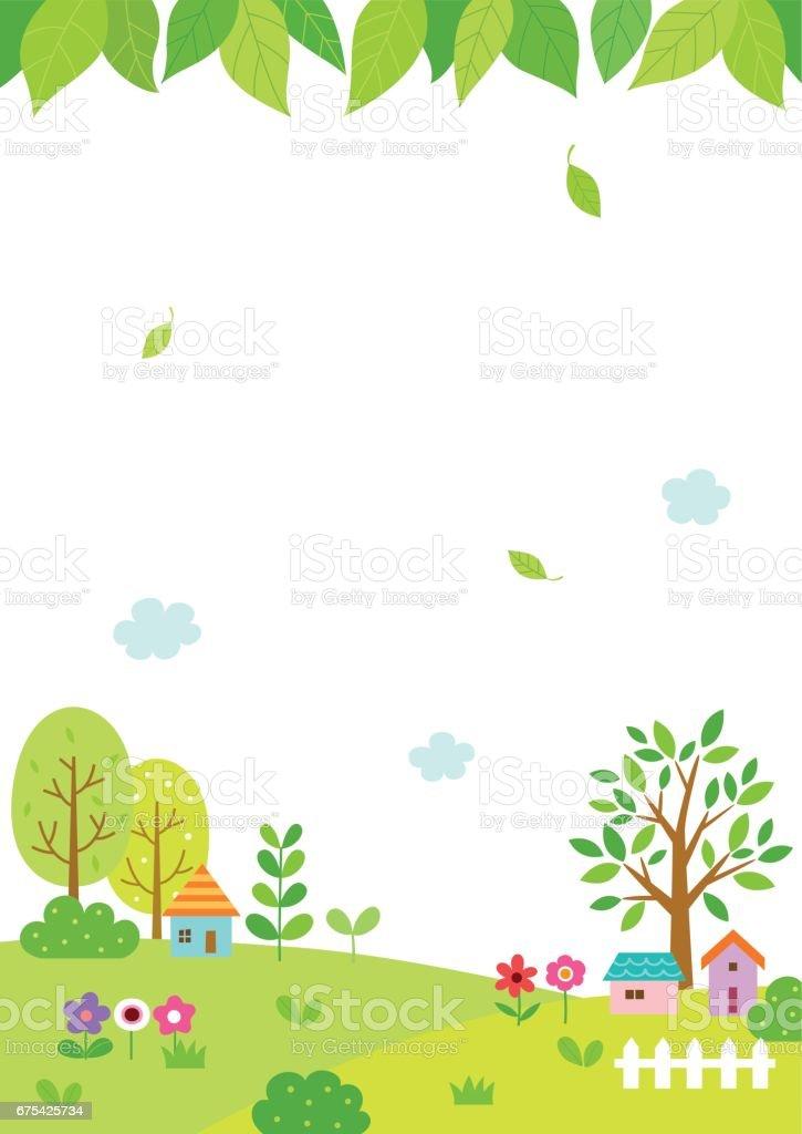 Natural landscape with green leaves background natural landscape with green leaves background – cliparts vectoriels et plus d'images de affiche libre de droits