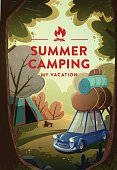 Travel and Tourism Poster. Natural Landscape With Holiday Camp In Forest. Vector.