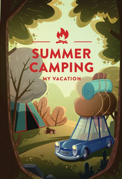 naturlandschaft mit ferienlager im wald - camping stock-grafiken, -clipart, -cartoons und -symbole