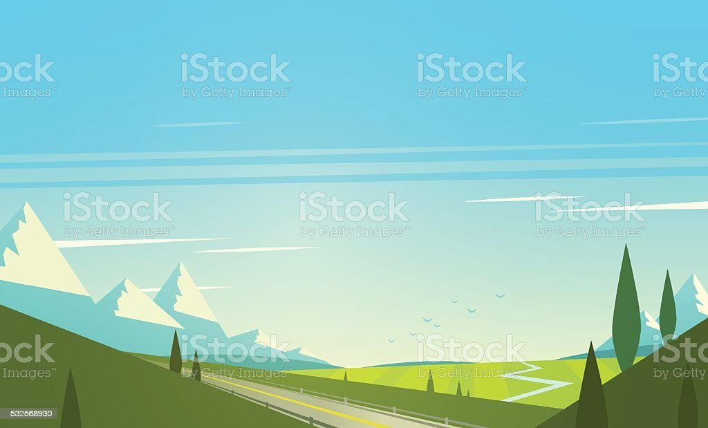 Natural landscape with mountains. Vector illustration. vector art illustration