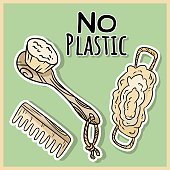 Natural material shower items. Ecological and zero-waste product. Green house and plastic-free living