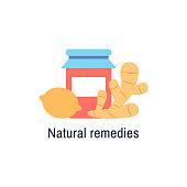 Natural medicine logo design isolated flat icon. Natural treatment sign. Lemon, ginger, berry jam, honey. Flu or cold medicine. Natural organic health care product Virus prevention vector illustration