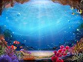 istock Natural ocean bottom background 1283436076