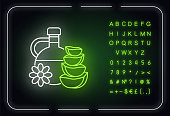Natural oil neon light icon. Plant based essence. Floral liquid for skincare. Aloe vera juice. Outer glowing effect. Sign with alphabet, numbers and symbols. Vector isolated RGB color illustration