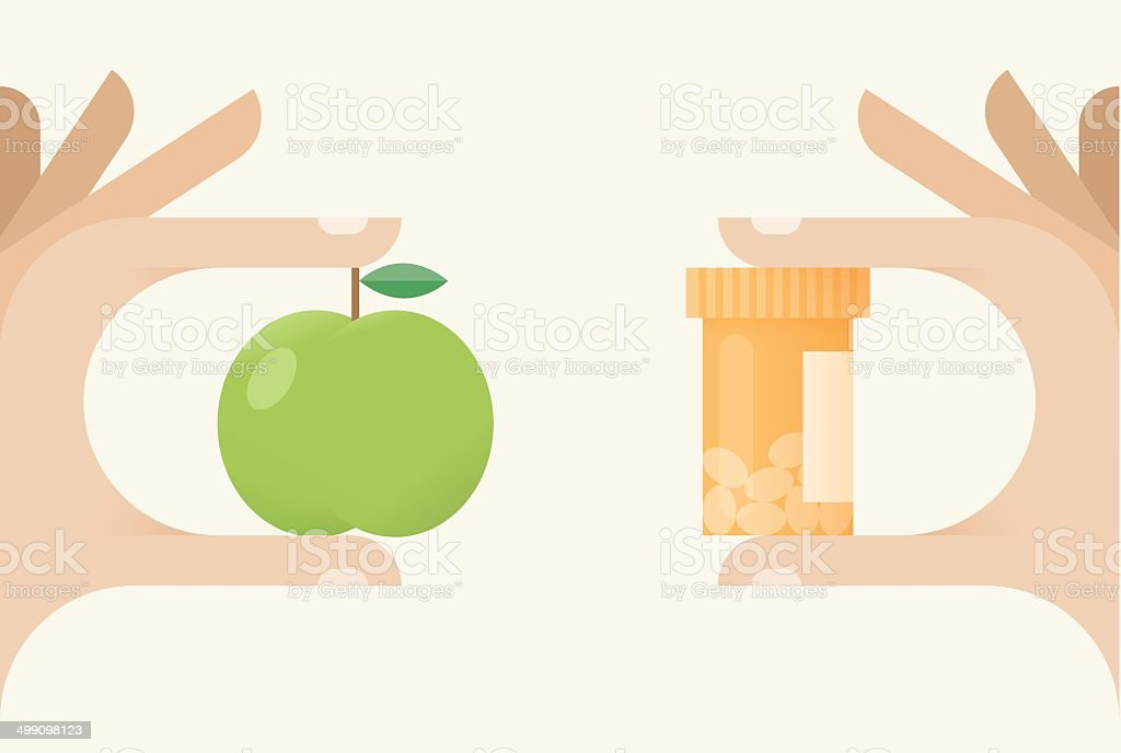 Natural or chemical? Healthy food with vitamins or medical nutrients? vector art illustration