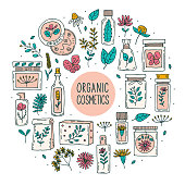 Natural organic cosmetics with plants  doodle vector clipart, set of elements. Isolated on white background. Herbs. Organic ingredients. Eco friendly, vegan cosmetics. Vegan. Sticker, icon.