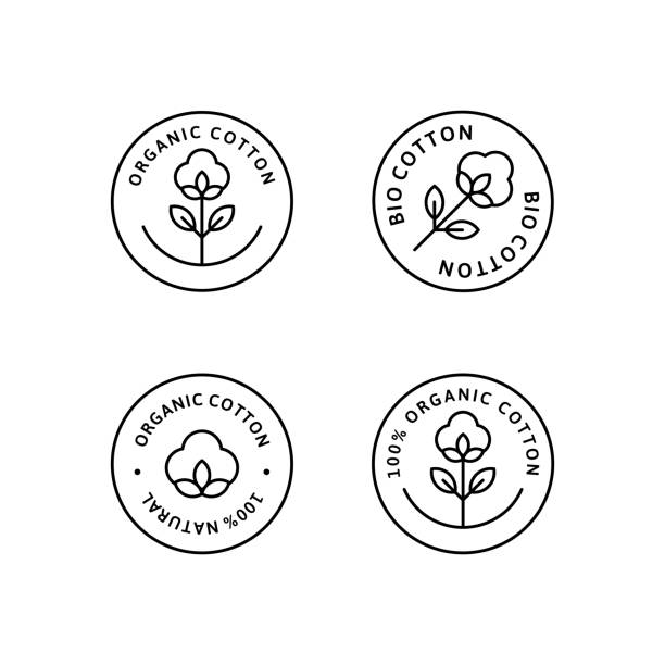 Natural Organic Cotton Liner labels and badges - Vector Round Icon - Sticker - Logo - Stamped - Tag Cotton Flower Set of Natural Organic Cotton Liner labels and badges - Vector Round Icon, Sticker, Logo, Stamp, Tag Cotton Flower Isolated on White Background - Natural Cloth Logo Plants Stamp Organic Textiles. cotton stock illustrations
