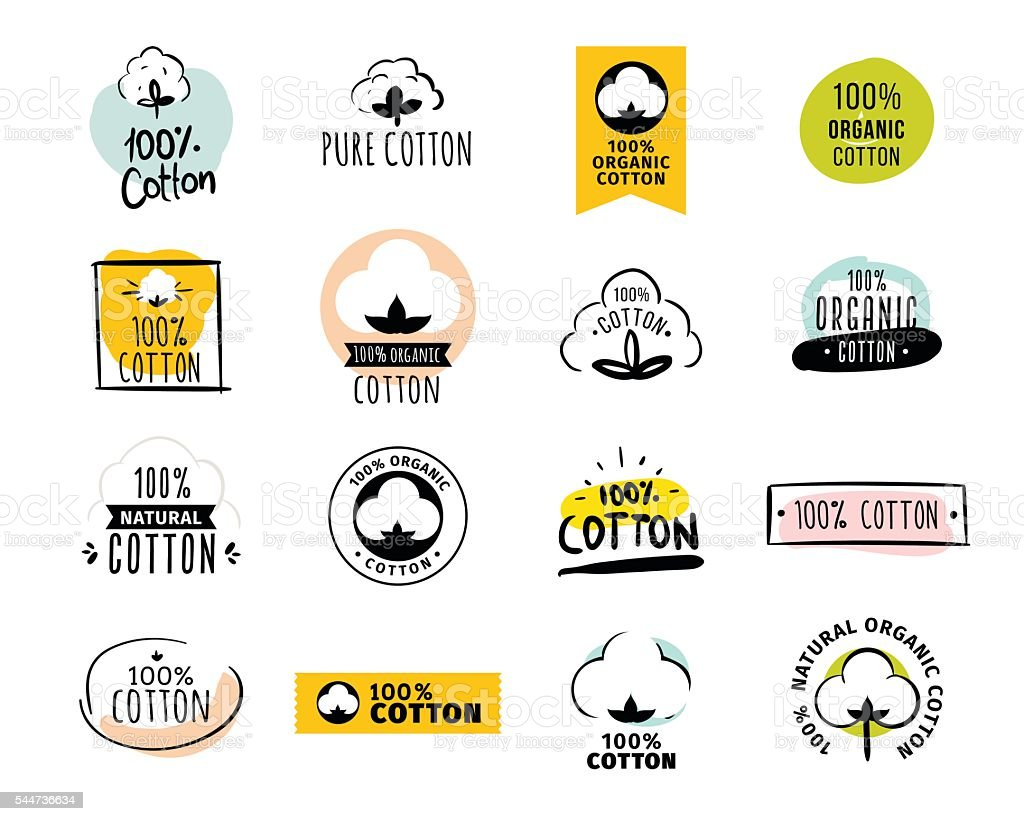 Natural organic cotton vector labels vector art illustration