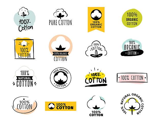 natural organic cotton vector labels - cotton stock illustrations, clip art, cartoons, & icons