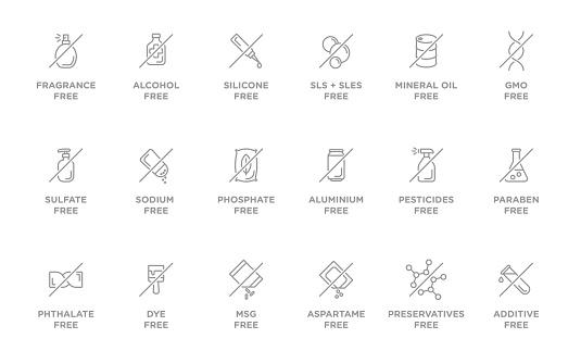 Natural, organic, eco, bio product badges, no additives