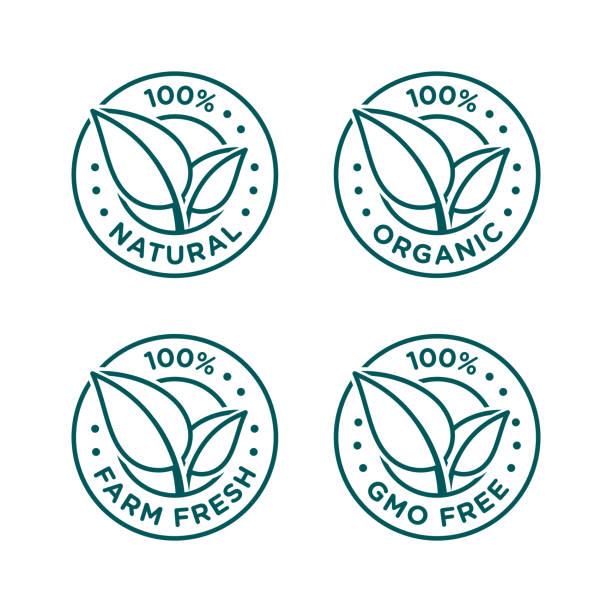 100% natural, organic, farm fresh, gmo free icon set 100% natural, organic, farm fresh, gmo free icon set natural condition stock illustrations
