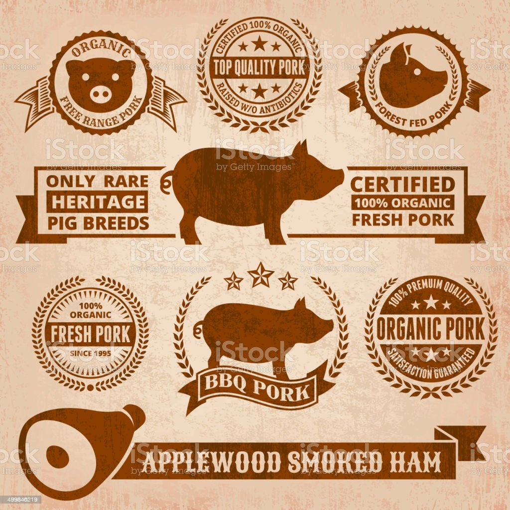 Natural Organic Pork Badges & Banners in Grunge Style royalty-free stock vector art