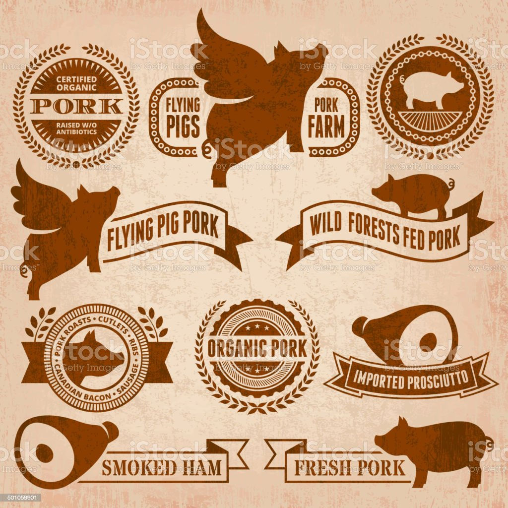 Natural Organic Pork Badges & Banners in Grunge Style royalty-free natural organic pork badges banners in grunge style stock vector art & more images of advertisement