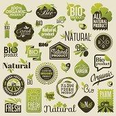 Natural organic product labels, emblems and badges