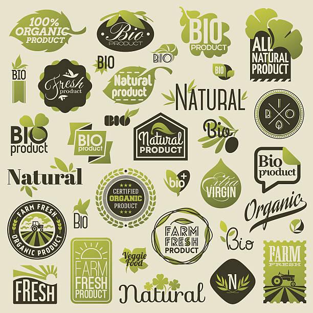 天然オーガニック製品ラベル、バッジ emblems 、 - オーガニックフード点のイラスト素材/クリップアート素材/マンガ素材/アイコン素材