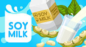 Soy milk poster, soya dairy drink paper box package, glass and splash. Vector organic vegan product, healthy natural nutrition, soybean protein nutrition beverage