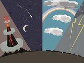four images of natural phenomena vector cartoon background illustration