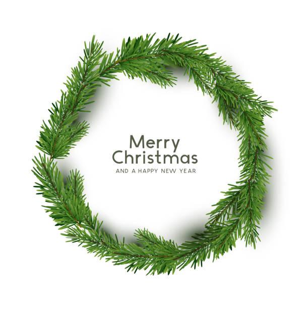 Natürliche Kiefer Weihnachtskranz – Vektorgrafik