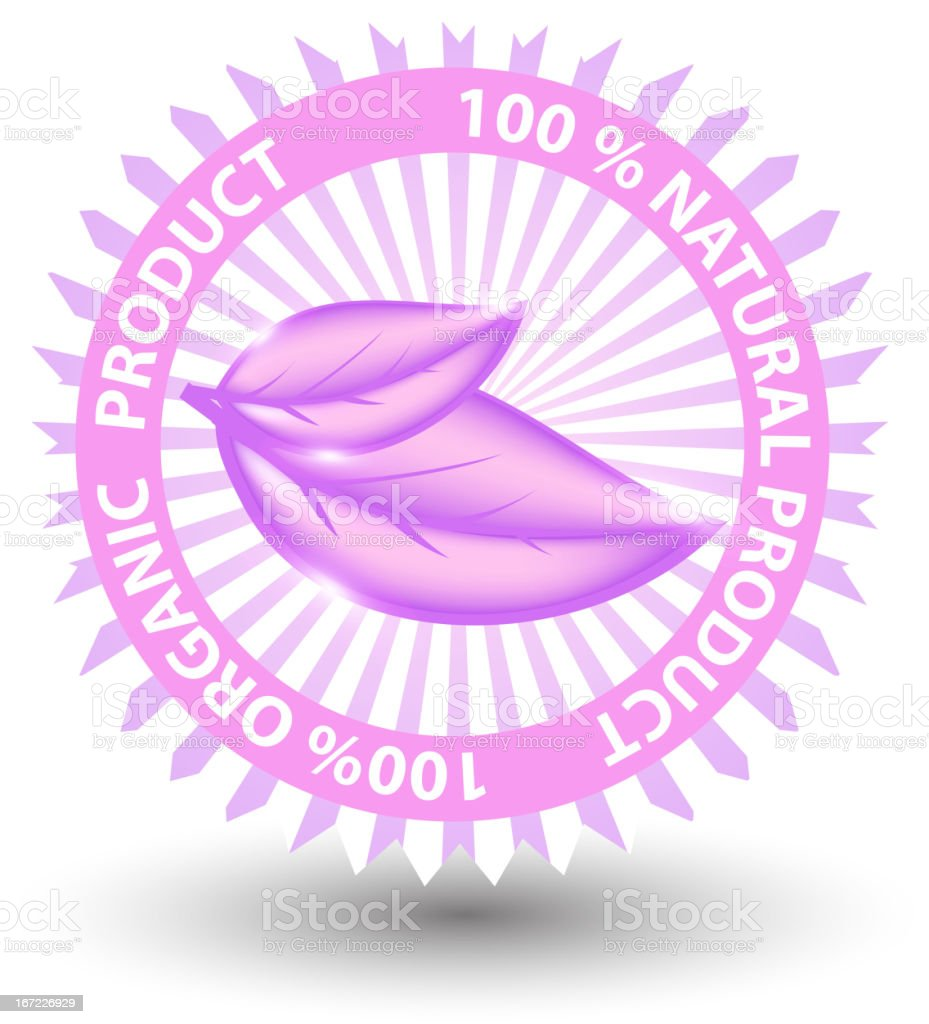 100% natural pink label isolated on white.vector illustration royalty-free stock vector art