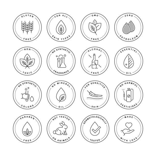 natural product label set - органическое вещество stock illustrations