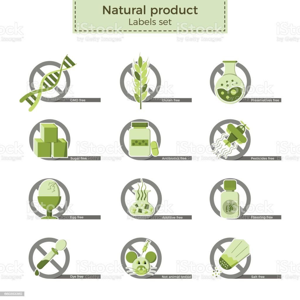 Natural product labels vector art illustration