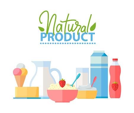 Natural Product Porridge in Bowl and Ice Cream