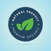Natural product, premium organic badge.